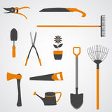 Garden Tools Icons. Set of yellow and grey vector icons of garden tools Royalty Free Stock Images