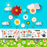 Garden Tools Icons. Vector Flowers Design Stock Images