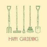 Garden tools illustration Royalty Free Stock Photos