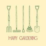 Garden tools illustration Royalty Free Stock Photos