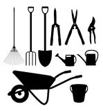 Garden Tools, Instruments Flat Icon Collection Set. Shovel, buck Royalty Free Stock Photography
