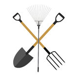 Garden Tools, Instruments Flat Icon Collection Set. Shovel, Rake Royalty Free Stock Images