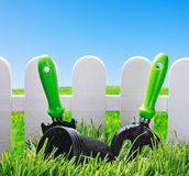 Garden tools on the lawn Royalty Free Stock Photo