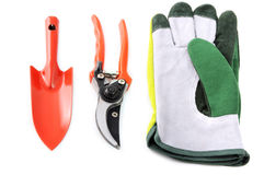 Garden tools like shovel, gloves, shear on white isolated backgr Stock Photography