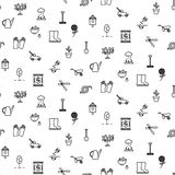Garden tools line icons vector seamless pattern. Stock Image