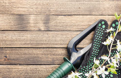 Garden tools at lower right corner of wooden background Royalty Free Stock Photography