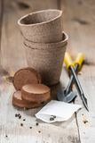 Garden tools, peat pots and seeds on wooden background Stock Image