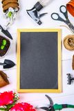 Garden tools, pots, seedlings and chalkboard on a white wooden table. Copy the space. Top view. Garden tools, pots, seedlings and chalkboard on a white wooden Royalty Free Stock Image