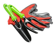 Garden tools and red gloves Stock Photos
