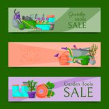 Garden tools sale horizontal set of banners vector illustration. Super sale of equipment. Wheelbarrow, trowel, fork hoe royalty free illustration