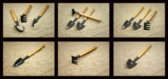Garden tools on sand Royalty Free Stock Photos
