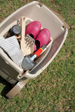 Garden tools saving in container. Saving some garden tools in container Royalty Free Stock Photos