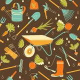 Garden tools seamless background in doodle style Royalty Free Stock Image