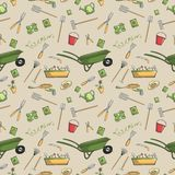 Garden tools seamless pattern Royalty Free Stock Photography