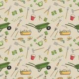 Garden tools seamless pattern stock illustration