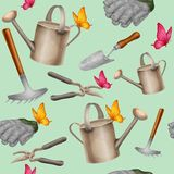 Garden tools seamless pattern Stock Image
