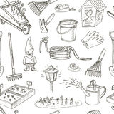 Garden tools seamless pattern. Various equipment and facilities for gardening and agriculture Stock Photography