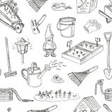 Garden tools seamless pattern. Various equipment  facilities for gardening and agriculture Royalty Free Stock Photos