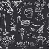 Garden tools seamless pattern. Various equipment facilities for gardening and agriculture Stock Images