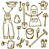 Garden tools set doodle. Funny Royalty Free Stock Photography