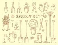 Garden tools set. Vintage sketch set of hand drawn gardening tools Stock Images
