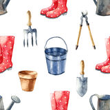 Garden tools set. Watercolor garden tools set. Seamless pattern Stock Photography