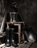 Garden tools in shed Royalty Free Stock Image
