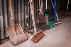 Garden tools in a shed Stock Image