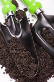 Garden tools shovel and soil Stock Photo