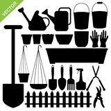 Garden tools silhouettes vector Stock Images