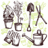 Garden Tools Sketch Concept Stock Images