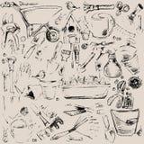 Garden tools sketch illustration. Royalty Free Stock Photos