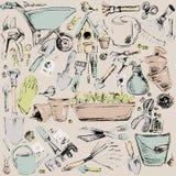Garden tools sketch illustration. Royalty Free Stock Image