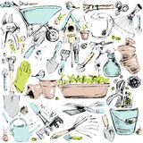 Garden tools sketch illustration. Royalty Free Stock Photography