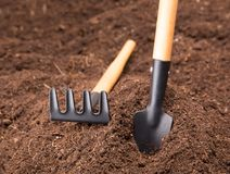 Garden Tools on Soil Royalty Free Stock Photo