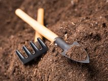 Garden tools on soil Royalty Free Stock Photos