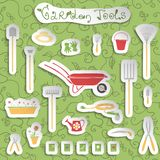 Garden tools stickers set Royalty Free Stock Images