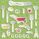 Garden tools stickers set royalty free illustration
