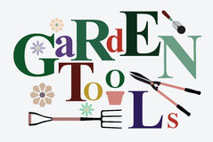 Garden tools text. Text Garden Tools in creativity with pitchforks, shovels and clippers. Vector illustration Stock Photography