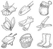 Garden tools and things. Vector set of garden icons at at engraved style Royalty Free Stock Photo