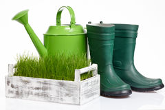 Garden tools and watering can Royalty Free Stock Photography