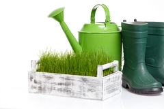 Garden tools and watering can Stock Image