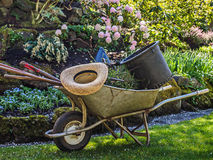 Garden tools in a wheelbarrow Stock Photos