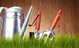Garden tools on wooden wall Royalty Free Stock Photography