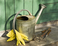 Garden tools on wooden working surface Stock Images