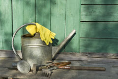 Garden tools on the working surface Stock Photo