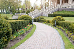 Garden with topiary landscape. Landscaping in the park Stock Images