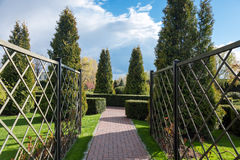 Garden with topiary landscape. Landscaping in the park Stock Image