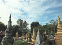 Garden of towers in a Khmer& x27;s pagoda Stock Photo