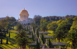 Garden trees palms temple Baha& x27;i saturation Royalty Free Stock Images